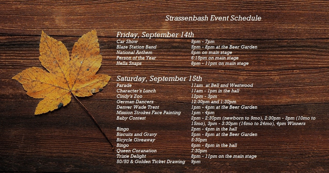 Strassenbash Event Schedule – Wright City Area Chamber